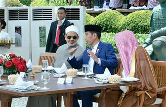 الرئيس الإندونيسي يقيم مأدبة غداء لشيخ الأزهر والمشاركين في اللقاء العالمي حول وسطية الإسلام