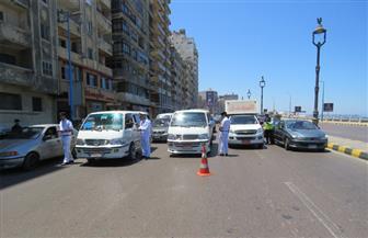 حملات مرورية بشوارع الإسكندرية لمنع التكدس والزحام في رمضان   صور
