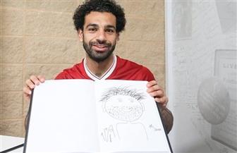 محمد صلاح يرسم نفسه بطريقة غريبة
