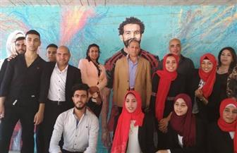 محمد صلاح يتصدر جداريات الرسم على حوائط سلم المشاة بالجزيرة| صور