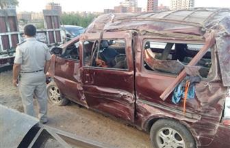 إصابة 10 أشخاص في اصطدام ميكروباص بعامود إنارة بالمنصورة