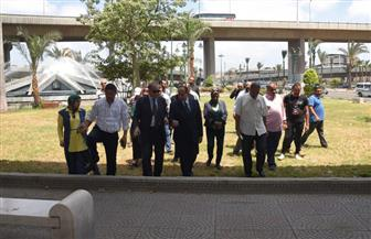 محافظ الإسكندرية يتفقد أعمال تطوير ميدان مجمع كباري محرم بك   صور