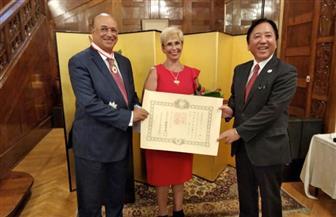 سفارة اليابان تكرم السفير محمود كارم وتمنحه وسام الشمس المشرقة   صور