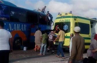 إصابة 4 أشخاص في تصادم سيارة ملاكي بأتوبيس بمدينة الحمام بمطروح