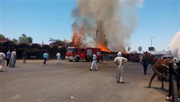 حريق بموقف الحنطور قرب معبد الأقصر| صور