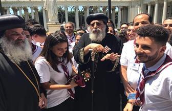 البابا تواضروس يبارك خاتمي خطوبة دانييل وكاتي   صور