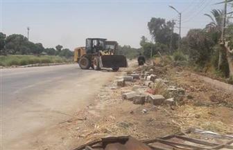 إزالة التعديات من الطريق السريع مصر- أسوان الشرقي الزراعي بالأقصر   صور
