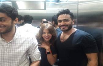 سميرة سعيد تشارك تامر حسنى وأيمن بهجت قمر مشاهدة فيلم البدلة | صور