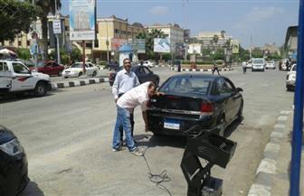 فحص عوادم ١٢٠ سيارة بكفر الشيخ   صور