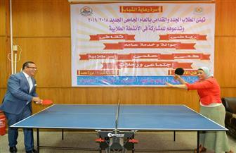 """رئيس جامعة المنصورة يتابع فعاليات مؤتمر """"نحو مجتمع صحي"""".. ويشارك عميدة """"تمريض"""" لعب """"تنس الطاولة"""""""