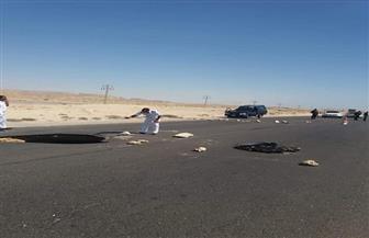 هبوط أرضي يتسبب في إعاقة حركة المرور بجنوب سيناء | صور