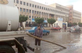 محافظة الإسكندرية تكسح مياه الأمطار من الشوارع والميادين | صور