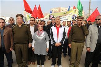 محافظ المنوفية يتقدم مسيرة للاحتفال بعيد الشرطة وذكرى ثورة 25 يناير بشبين الكوم| صور