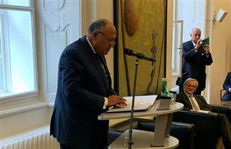 شكري يلقى محاضرة حول سياسة مصر الخارجية بالنمسا | صور