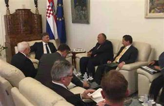 سامح شكري يصل مجلس الوزراء الكرواتي للقاء رئيس الوزراء| صور