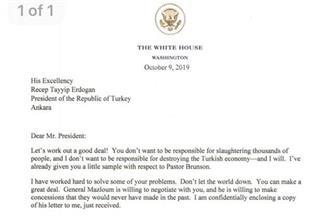 """البيت الأبيض: ترامب قال لأردوغان في رسالة في 9 أكتوبر """"لنبرم اتفاقا جيدا"""" بشأن سوريا و""""لا تكن متصلبا"""""""