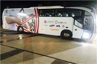 حافلة الزمالك تصل استاد القاهرة لمواجهة أسوان بالدوري