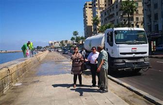 بدء تنظيف السور التاريخي لكورنيش الإسكندرية بعد  قيام مجهولين بتشويهه بالزيوت | صور