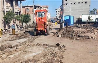 محافظة دمياط تتابع أعمال رصف مدخل قرية البصارطة| صور