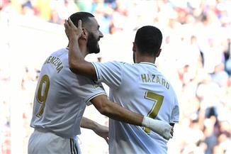 هازارد يسجل وريال مدريد يتقدم على غرناطة بهدفين في الشوط الأول