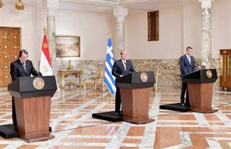 الرئيس السيسي: التوقيع على حزمة اتفاقيات تعاون بين مصر وقبرص واليونان