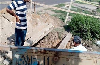 بدء إصلاح هبوط أرضي بحي المنتزه بالإسكندرية| صور