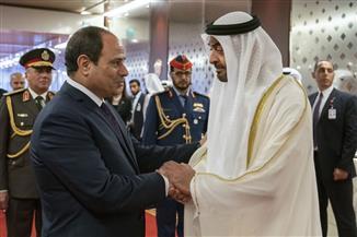 محمد بن زايد يودع الرئيس السيسي أثناء مغادرته للإمارات | صور