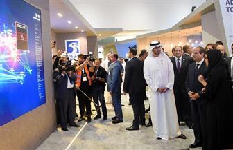 الرئيس السيسي والشيخ محمد بن زايد يجريان جولة تفقدية بمعرض أبو ظبي الدولي للبترول