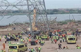 مصرع وإصابة 6 عمال سقط عليهم برج ضغط عالي بالوراق