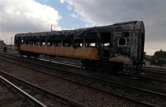 السيطرة على حريق بعربة قطار مخزنة بمحطة السكة الحديد في كفر الزيات |صور