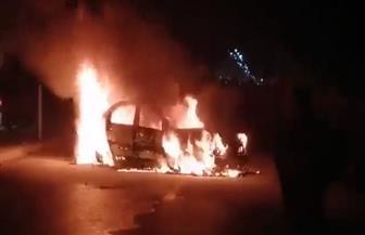حريق يلتهم سيارة ملاكى بطريق طنطا - المحلة | صور