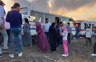 إصابة 19 شخصا في تصادم أتوبيسين لنقل العاملين من الدقهلية لبورسعيد | صور