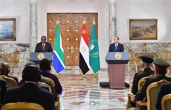 الرئيس السيسي: سعدت اليوم بلقاء سيريل رامابوزا رئيس جنوب إفريقيا