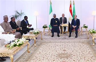 الرئيس السيسي يستقبل نظيره النيجيري بأسوان | صور