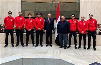 سفير مصر بالولايات المتحدة يستقبل بعثة الأسكواش المشاركة في بطولة العالم للفرق | صور