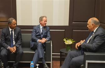 """وزير الخارجية يلتقي مع المدير التنفيذي لبرنامج الغذاء العالمي على هامش """"منتدى شباب العالم""""   صور"""