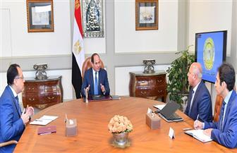 الرئيس السيسي يجتمع برئيس مجلس الوزراء ووزير النقل  صور