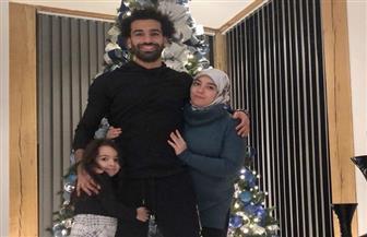 محمد صلاح يحتفل بالكريسماس مع زوجته وابنته مكة