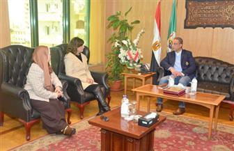 """محافظ الفيوم يستقبل وزيرة الهجرة لبدء زيارة مبادرة """"مراكب النجاة"""""""