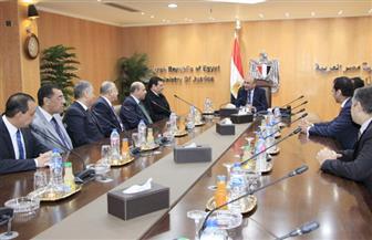 المستشار عمر مروان يستقبل وزير العدل السابق ووفدا من النيابة العامة | صور