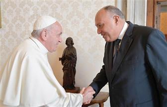 بابا الفاتيكان يستقبل سامح شكري في ختام زيارته | صور