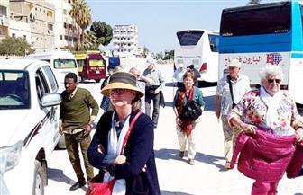 وفد سياحي أجنبي بسوهاج يزور المنطقة الأثرية بأبيدوس | صور