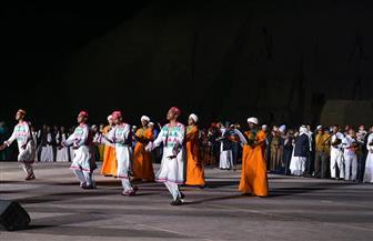 احتفالية فلكلورية في ساحة أبو سمبل قبل تعامد الشمس بساعات| صور