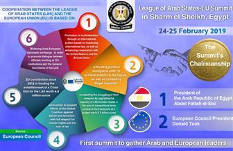 مجلس الوزراء ينشر انفوجراف باللغة الإنجليزية حول القمة العربية ـ الأوروبية