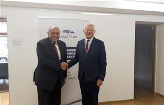 شكري يجري مباحثات مع وزير خارجية رومانيا على هامش الاجتماع الوزاري العربي الأوروبي