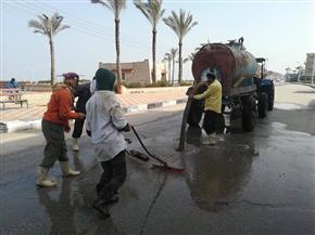 كسح مياه الأمطار وإزالة المخلفات بمدينة مصيف بلطيم | صور