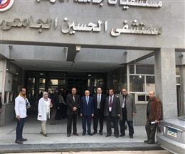 المحرصاوي يتفقد أعمال التطوير بمستشفى الحسين الجامعي |صور