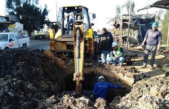 إصلاح انفجار خط المياه بطريق الحامول بلطيم الرئيس بكفرالشيخ | صور