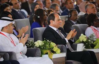 الرئيس السيسي يطلب من الحاضرين بملتقى الشباب العربي الإفريقي التصفيق للشاب هيثم صلاح