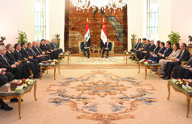 تفاصيل مباحثات الرئيس السيسي ورئيس الوزراء العراقى